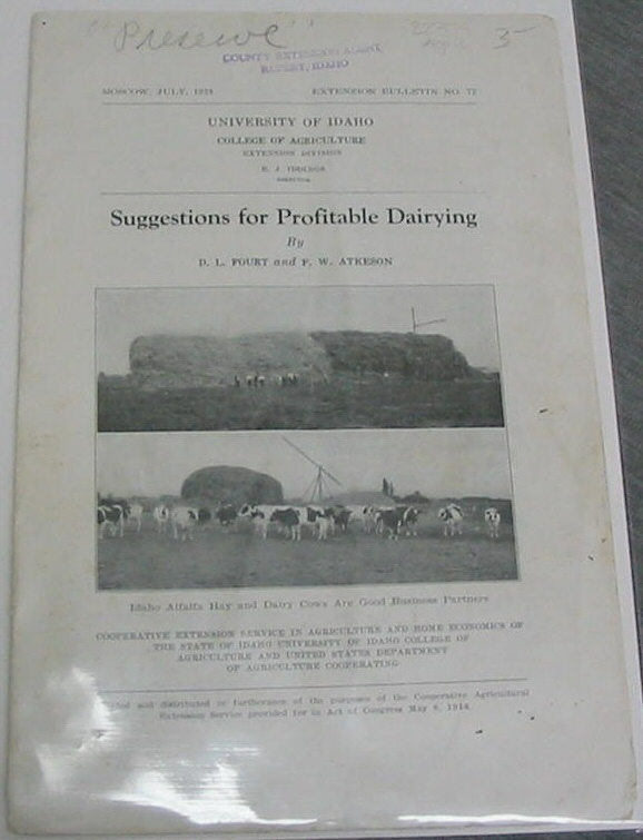 SUGGESTIONS FOR PROFITABLE DAIRYING, Fourt, D. L. and Atkeson, F. W.