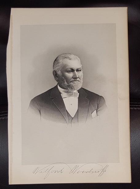 Steel Engraving - WILFORD WOODRUFF - 1890 -  Original MORMON / Utah Pioneer Steel Engraving