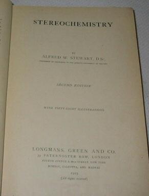 STEREOCHEMISTRY, Stewart, Alfred W.