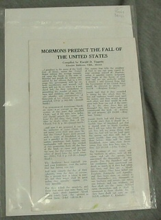MORMONS PREDICT THE FALL OF THE UNITED STATES, Tippetts, Harold D.