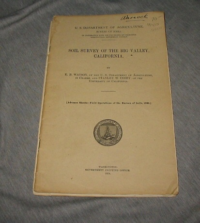 Soil Survey of the Big Valley, California, Watson, E. B. & Cosby, Stanley W.
