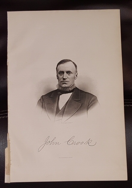 Steel Engraving - John Crook -  Original MORMON / Utah Pioneer Steel Engraving