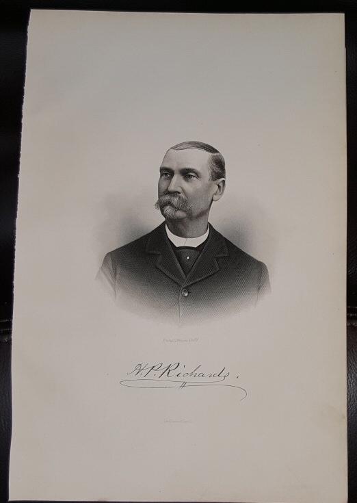 Steel Engraving - Henry P. Richards -  Original MORMON / Utah Pioneer Steel Engraving
