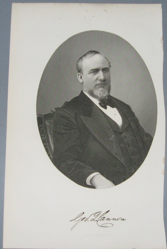Steel Engraving - George Q. Cannon -  Original MORMON / Utah Pioneer Steel Engraving