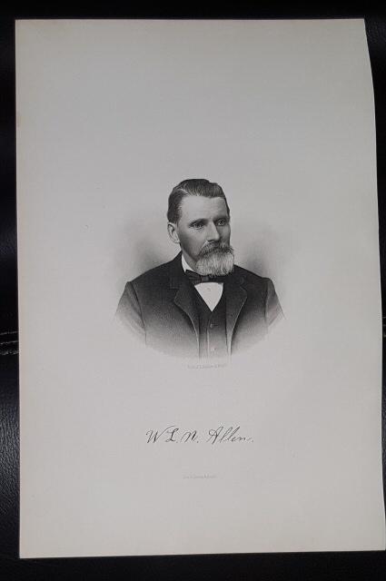 Steel Engraving - W. L. N. Allen -  Original MORMON / Utah Pioneer Steel Engraving