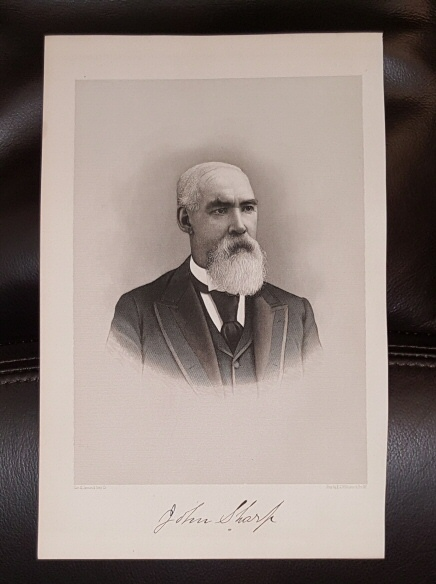 Steel Engraving - John Sharp -  Original MORMON / Utah Pioneer Steel Engraving