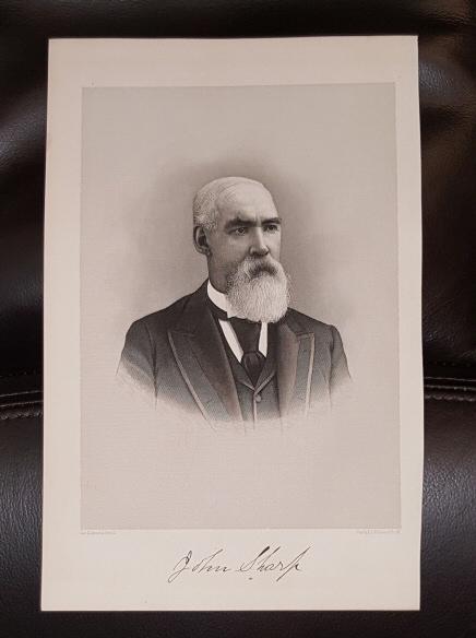 Steel Engraving - John Sharp -  Original MORMON / Utah Pioneer Steel Engraving