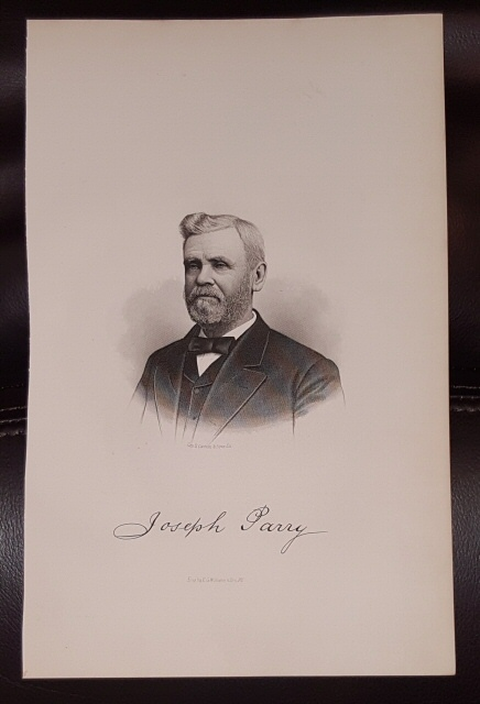 Steel Engraving - Joseph Parry -  Original MORMON / Utah Pioneer Steel Engraving