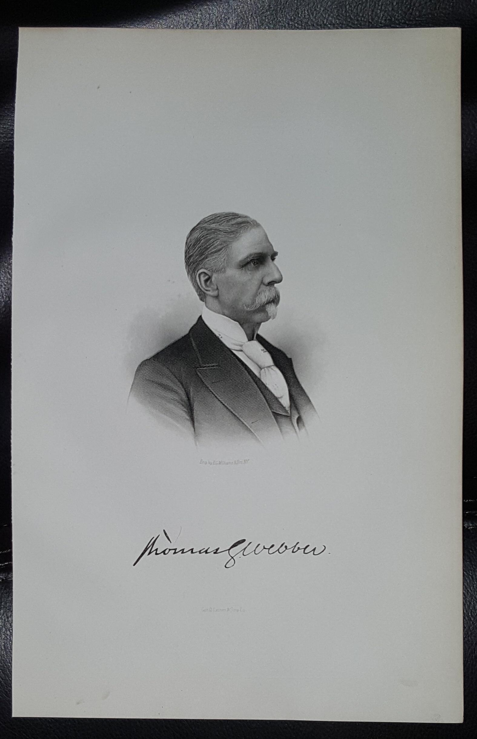 Steel Engraving - Thomas G. Webber -  Original MORMON / Utah Pioneer Steel Engraving