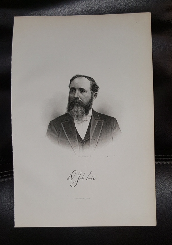 Steel Engraving - David John -  Original MORMON / Utah Pioneer Steel Engraving