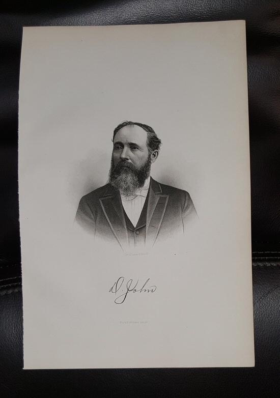 Steel Engraving - David John -  Original MORMON / Utah Pioneer Steel Engraving