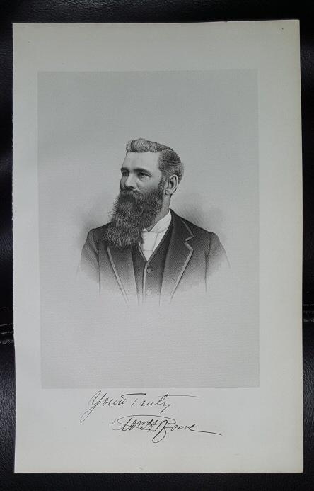 Steel Engraving - William H. Rowe -  Original MORMON / Utah Pioneer Steel Engraving