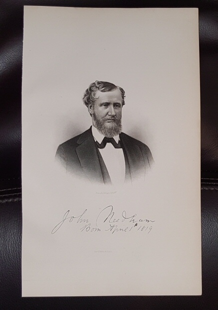 Steel Engraving - John  Needham -  Original MORMON / Utah Pioneer Steel Engraving