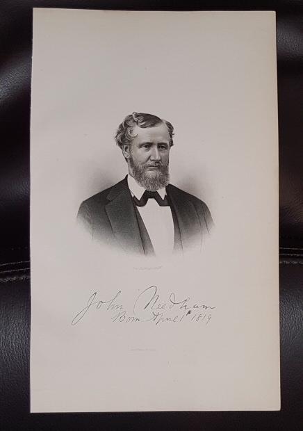 Steel Engraving - John  Needham -  Original MORMON / Utah Pioneer Steel Engraving
