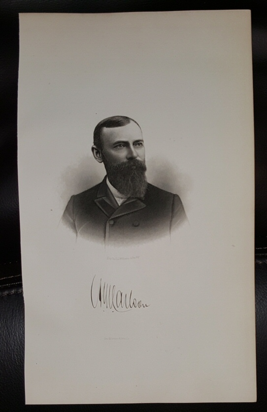Steel Engraving - August W. Corlson -  Original MORMON / Utah Pioneer Steel Engraving