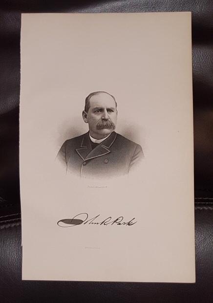 Steel Engraving - John R. Park -  Original MORMON / Utah Pioneer Steel Engraving