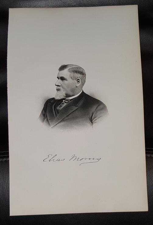 Steel Engraving - Elias Morris -  Original MORMON / Utah Pioneer Steel Engraving