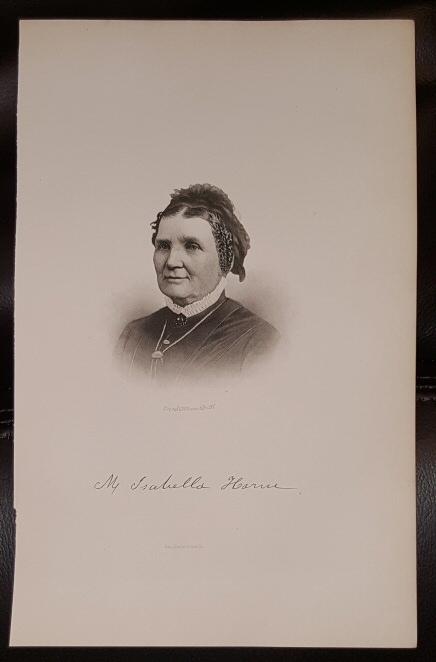 Steel Engraving - M. Isabella Horne -  Original MORMON / Utah Pioneer Steel Engraving
