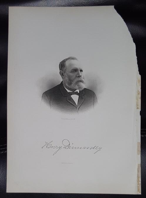 Steel Engraving - Henry Dinwoodey -  Original MORMON / Utah Pioneer Steel Engraving
