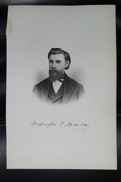 Steel Engraving - Washington F. Anderson -  Original MORMON / Utah Pioneer Steel Engraving