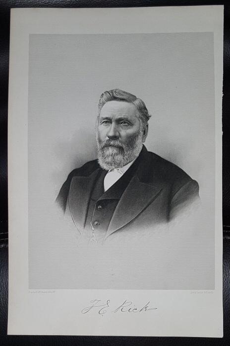 Steel Engraving - Thomas E. Ricks -  Original MORMON / Utah Pioneer Steel Engraving