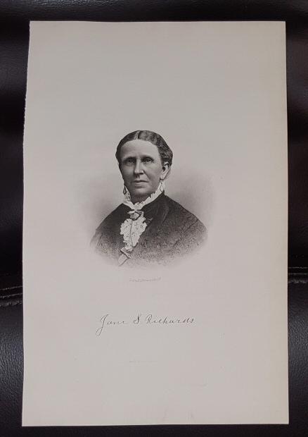 Steel Engraving - Jane S. Richards -  Original MORMON / Utah Pioneer Steel Engraving