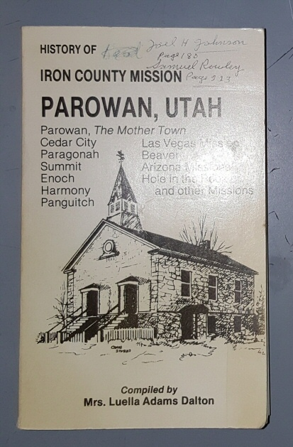 History of the Iron County Mission and Parowan, Dalton, Luella Adams