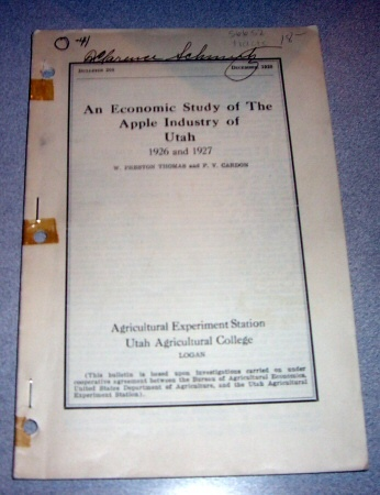 An Economic Study of The Apple Industry of Utah -  1926 and 1927