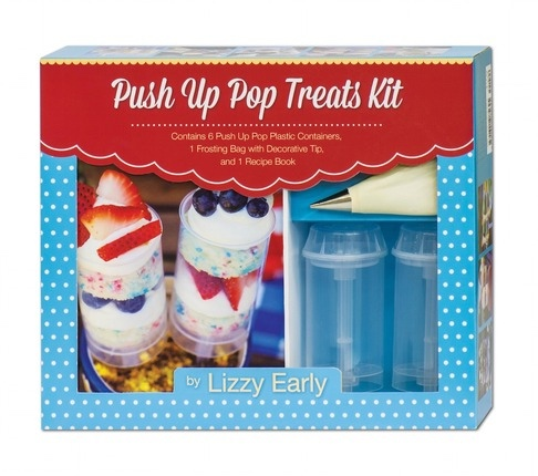 Push Up Pop Treats Kit -  Contains 6 Push Up Pop Plastic Containers, 1 Frosting Bag with Decorative Tip, and 1 Recipe Book, Early, Lizzy