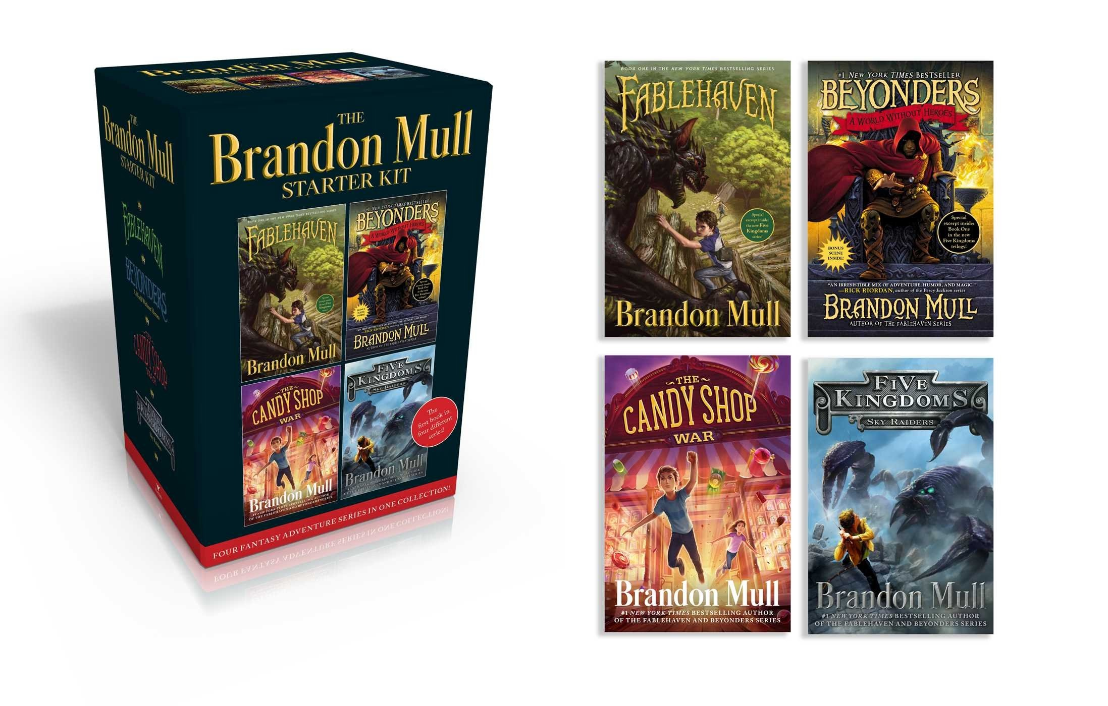 The Brandon Mull Starter Kit;   Fablehaven; A World Without Heroes; The Candy Shop War; Sky Raiders