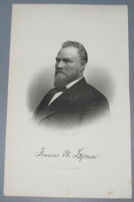 Steel Engraving - Francis M. Lyman -  Original MORMON / Utah Pioneer Steel Engraving