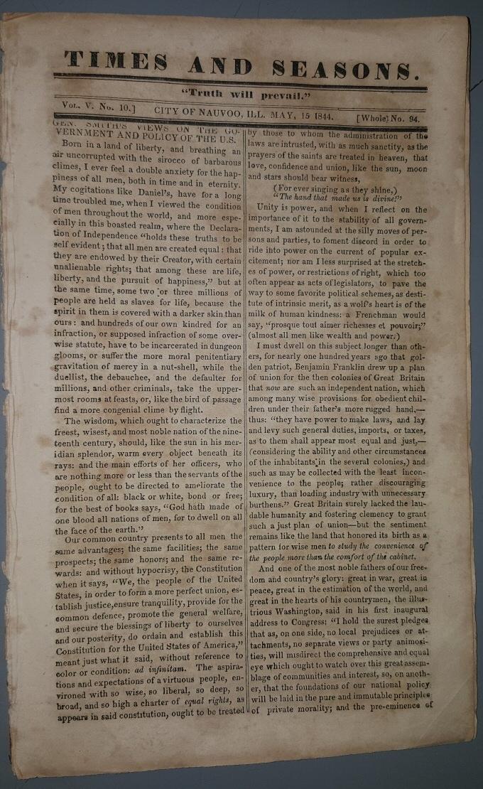 TIMES and SEASONS - Vol V (5) No. 10; May, 15 1844, John Taylor