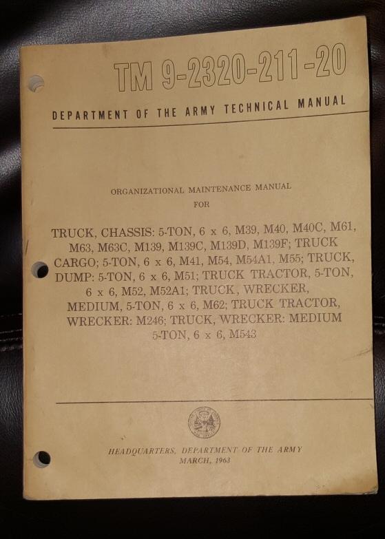 TM 9-2320-211-20 Organizational Maintenance Manual for Truck, Chassis; 5-Ton, 6x6, M39, M39A2, M40, M40A1, M40A2t M40A1C, M40A2C, M61, M61A1, M61A2, M63, M63A1, M63A2, M63C, M63A1C, M63A2C, M63A1D, M63A2D, M139A1, M139A2, M139C, M139A2C, M139D, M139A2D, United States Army