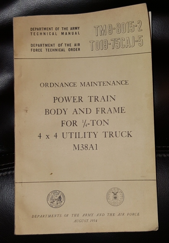 TM9-8015-2, DEPARTMENT OF THE ARMY TECHNICAL MANUAL - TO19-75CAJ5, DEPARTMENT OF THE AIR FORCE TECHNICAL ORDER;   ORDNANCE MAINTENANCEPOWER TRAINBODY AND FRAMEFOR ¼-TON4 x 4 UTILITY TRUCKM38A1DEPARTMENTS OF THE ARMY AND THE AIR FORCEAUGUST 1954