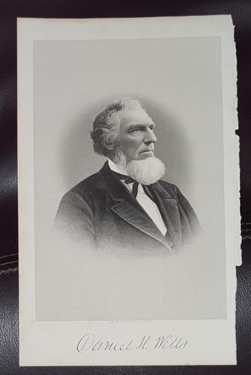 Steel Engraving - Daniel H. Wells -  Original MORMON / Utah Pioneer Steel Engraving