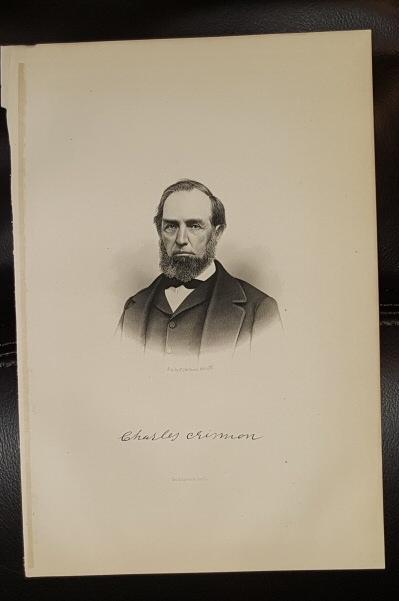 Steel Engraving - Charles Crismon -  Original MORMON / Utah Pioneer Steel Engraving