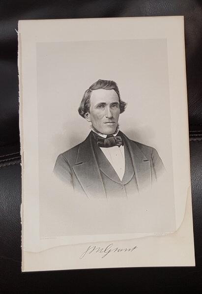 Steel Engraving - Jedediah M. Grant -  Original MORMON / Utah Pioneer Steel Engraving