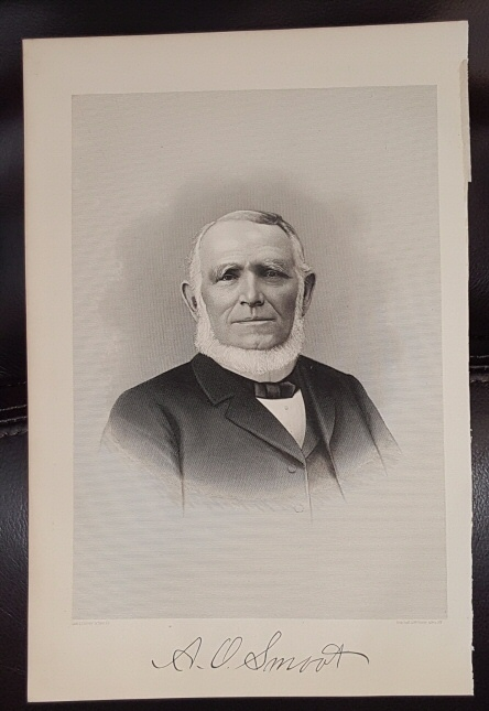 Steel Engraving - A. O. Smoot -  Original MORMON / Utah Pioneer Steel Engraving