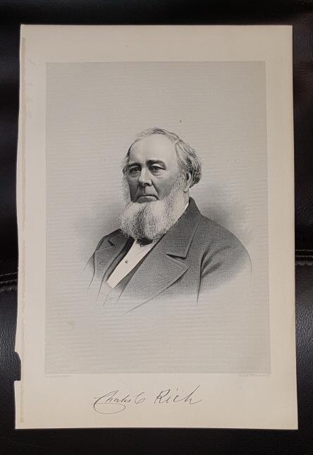 Steel Engraving - Charles C. Rich -  Original MORMON / Utah Pioneer Steel Engraving