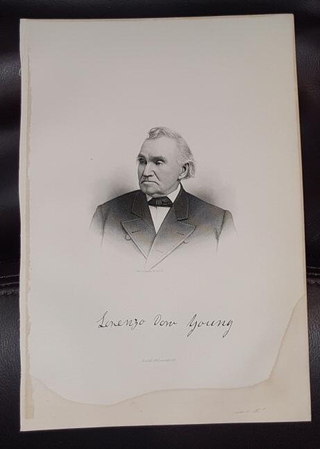 Steel Engraving - Lorenzo Dow Young -  Original MORMON / Utah Pioneer Steel Engraving