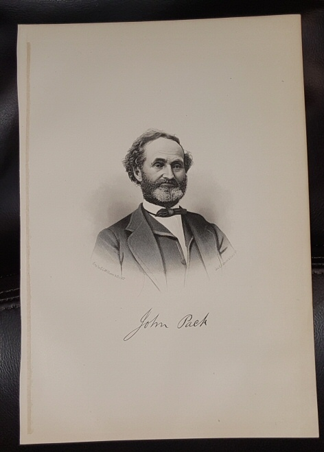 Steel Engraving - John Pack -  Original MORMON / Utah Pioneer Steel Engraving