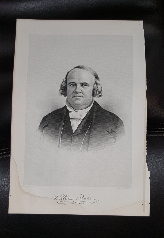 Steel Engraving - Willard Richards -  Original MORMON / Utah Pioneer Steel Engraving