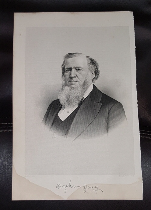 Steel Engraving - Brigham Young -  Original MORMON / Utah Pioneer Steel Engraving