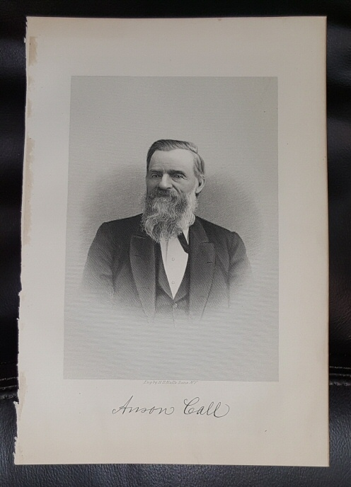 Steel Engraving - Anson Call -  Original MORMON / Utah Pioneer Steel Engraving