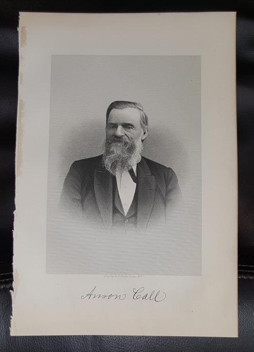 Steel Engraving - Anson Call -  Original MORMON / Utah Pioneer Steel Engraving