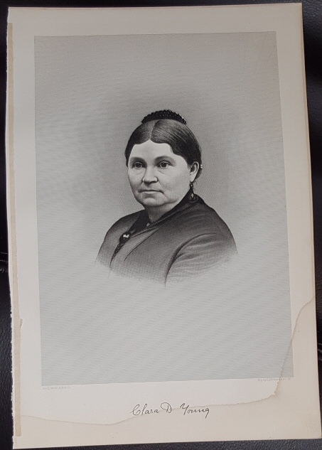Steel Engraving - Clara D. Young -  Original MORMON / Utah Pioneer Steel Engraving