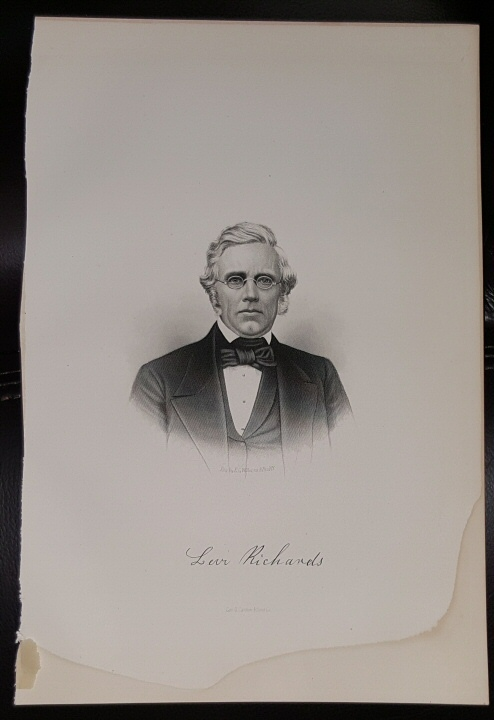 Steel Engraving - Levi Richards -  Original MORMON / Utah Pioneer Steel Engraving