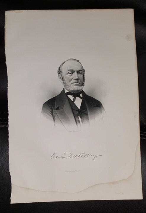 Steel Engraving - Edwin D. Wolley -  Original MORMON / Utah Pioneer Steel Engraving