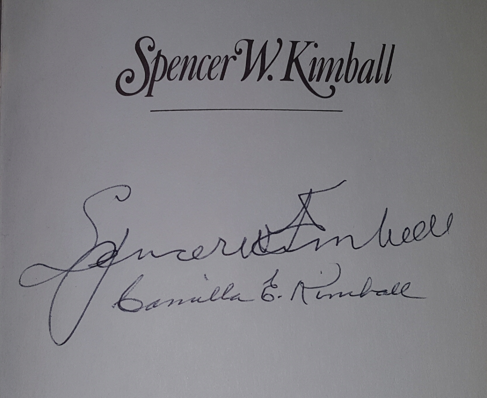 "SPENCER W. KIMBALL - THE EARLY AND APOSTOLIC YEARS - Signed on half title page by Prophet, ""Spencer W. Kimball"" and his wife, ""Camilla E. Kimball""., Kimball, Edward L. & Kimball, Andrew E. Jr."